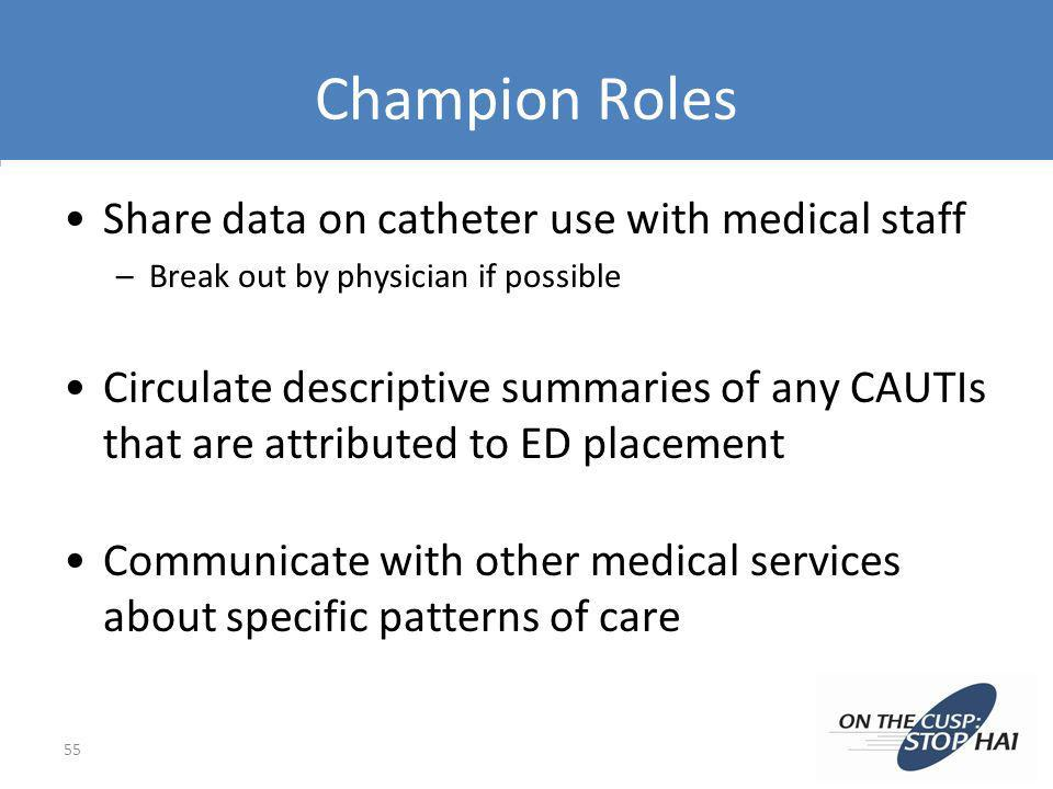 Champion Roles Share data on catheter use with medical staff