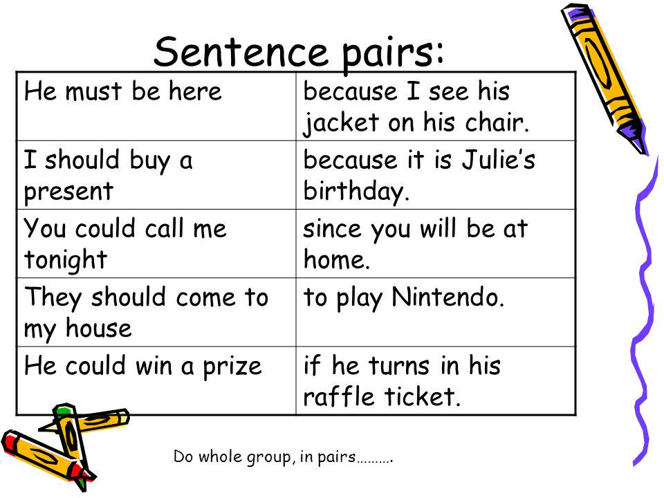Sentence pairs: He must be here because I see his jacket on his chair.