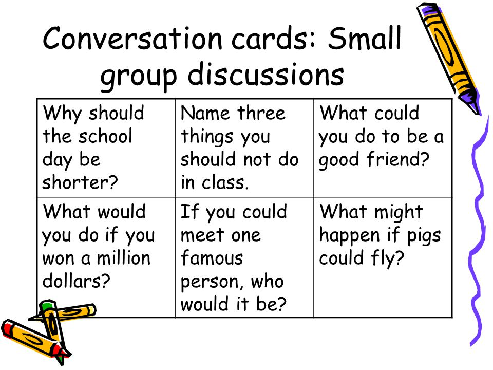 Conversation cards: Small group discussions