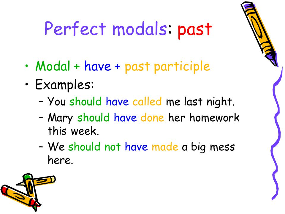 Perfect modals: past Modal + have + past participle Examples: