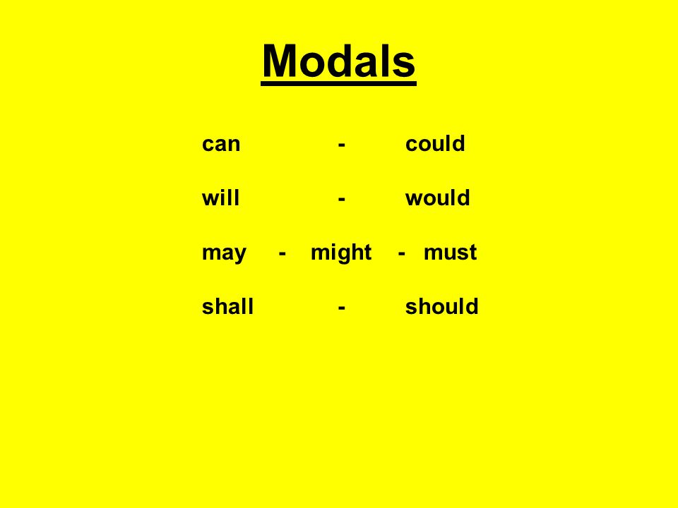 Modals can - could will - would may - might - must shall - should
