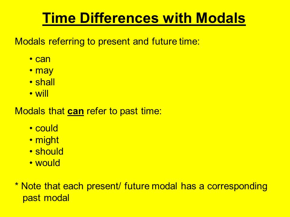 Time Differences with Modals