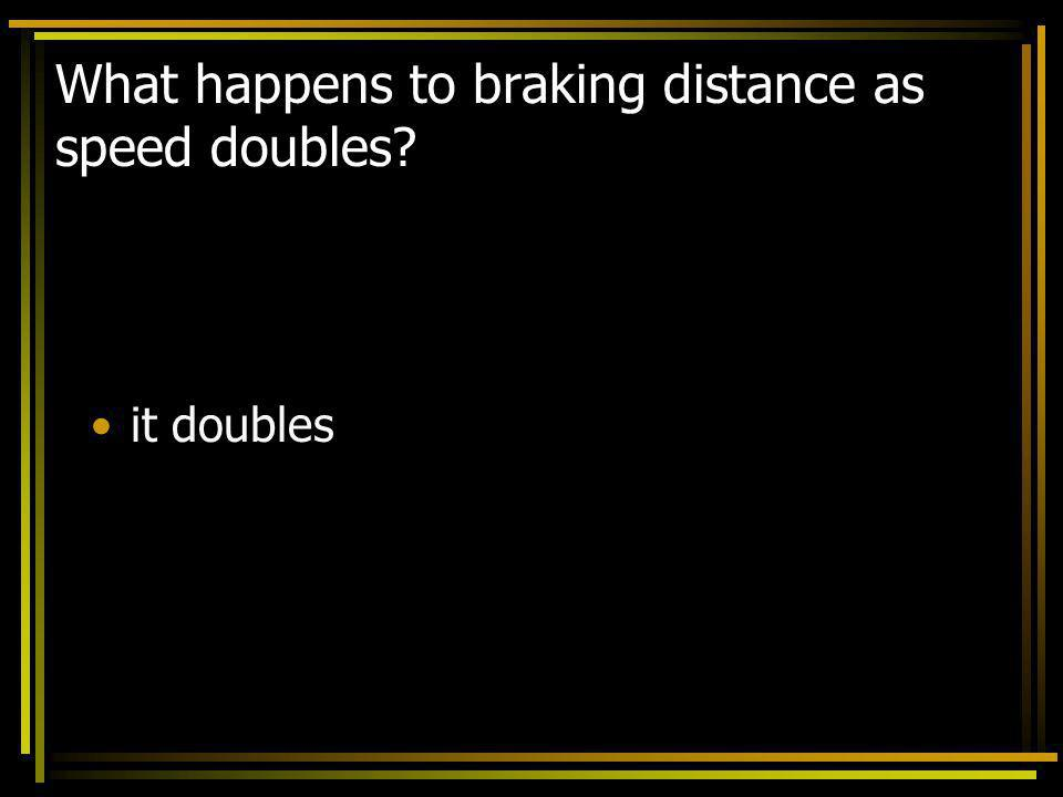 What happens to braking distance as speed doubles