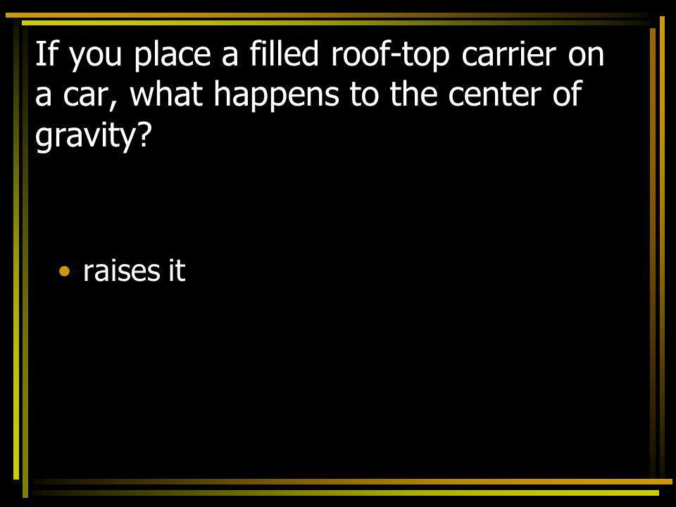 If you place a filled roof-top carrier on a car, what happens to the center of gravity