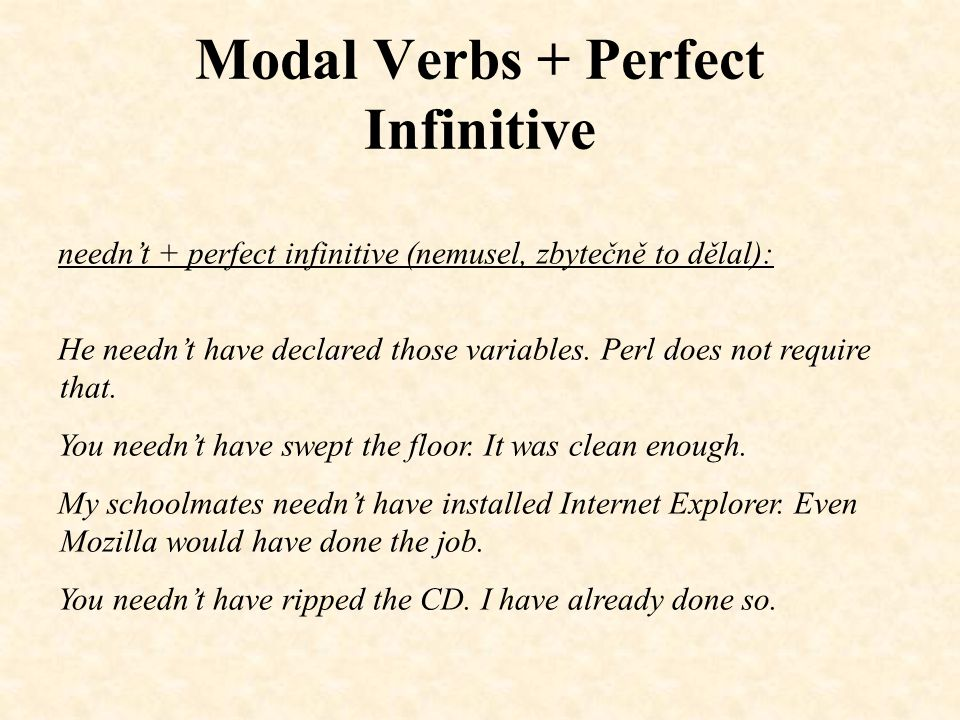 Modal Verbs + Perfect Infinitive