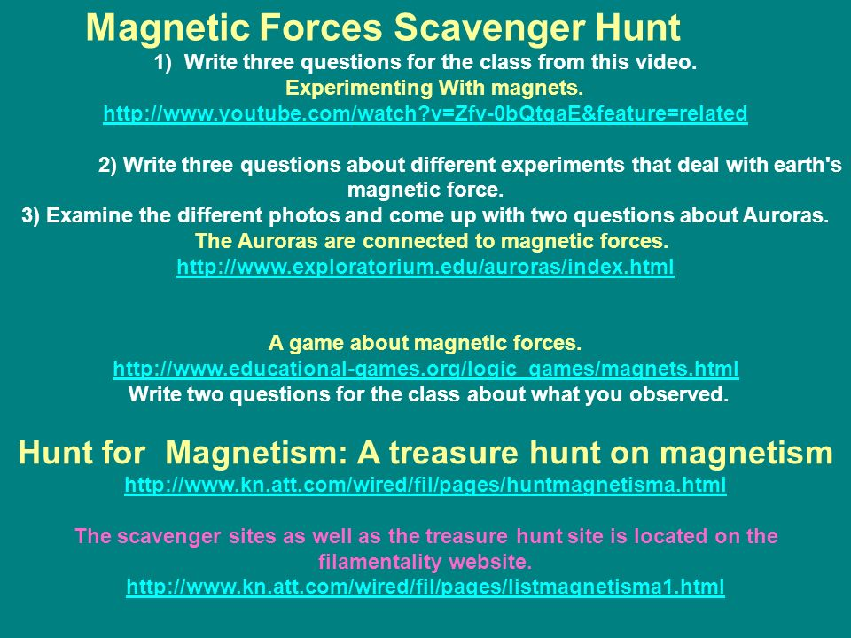 Magnetic Forces Scavenger Hunt