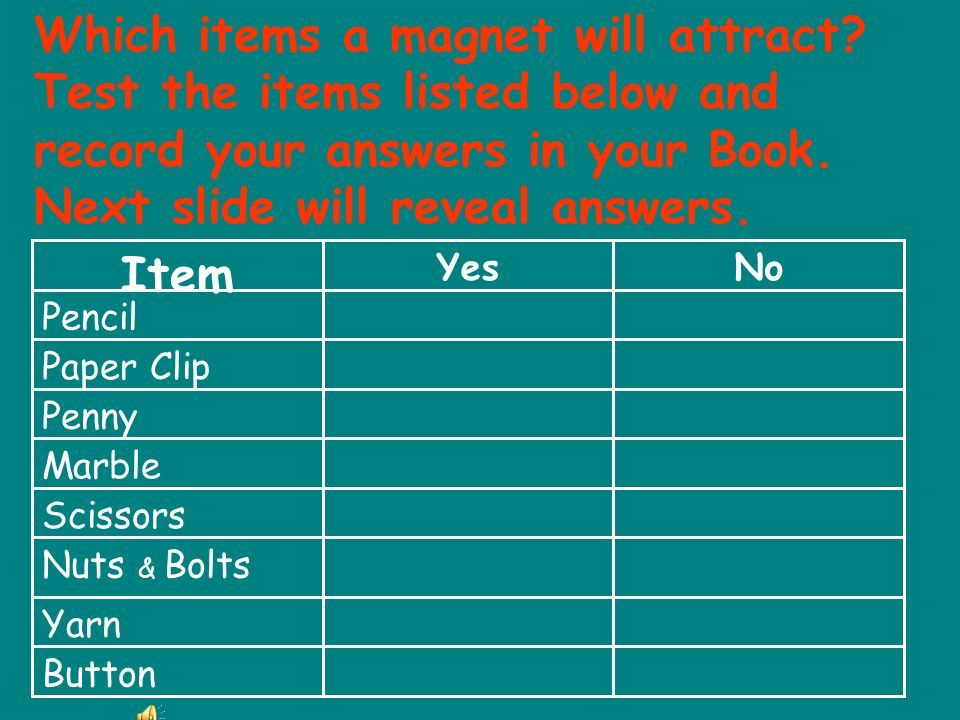 Which items a magnet will attract