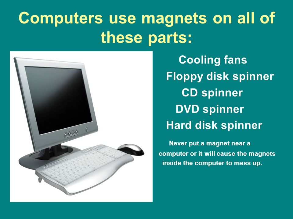 Computers use magnets on all of these parts: