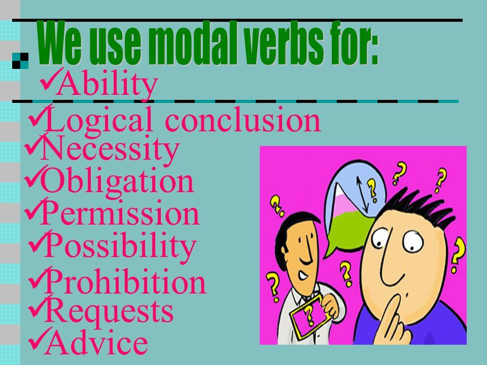 Ability Logical conclusion Necessity Obligation Permission Possibility
