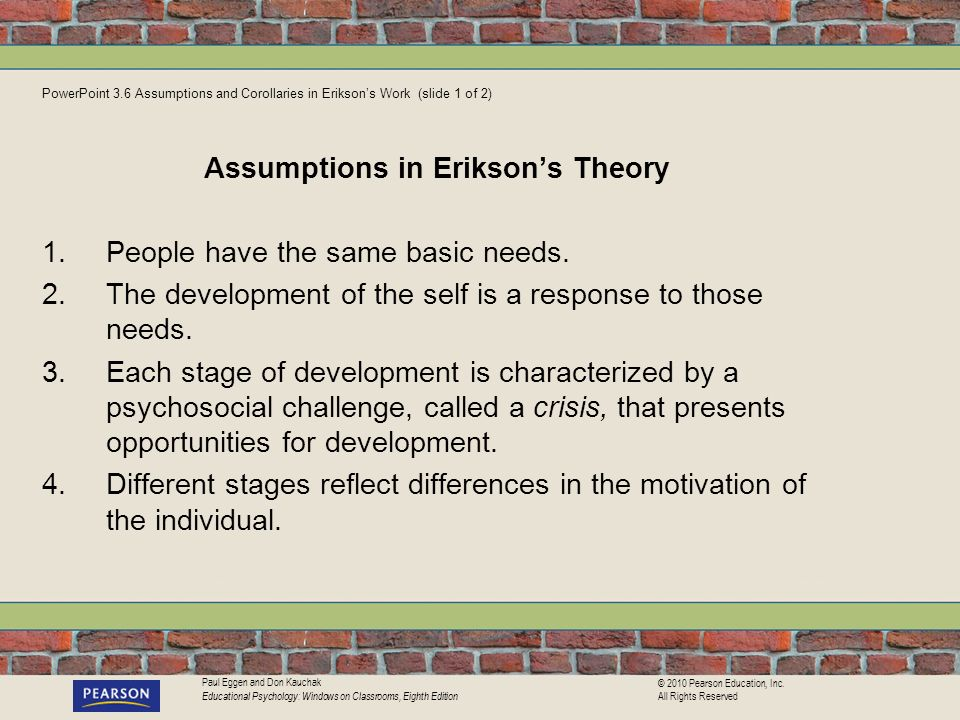Assumptions in Erikson's Theory