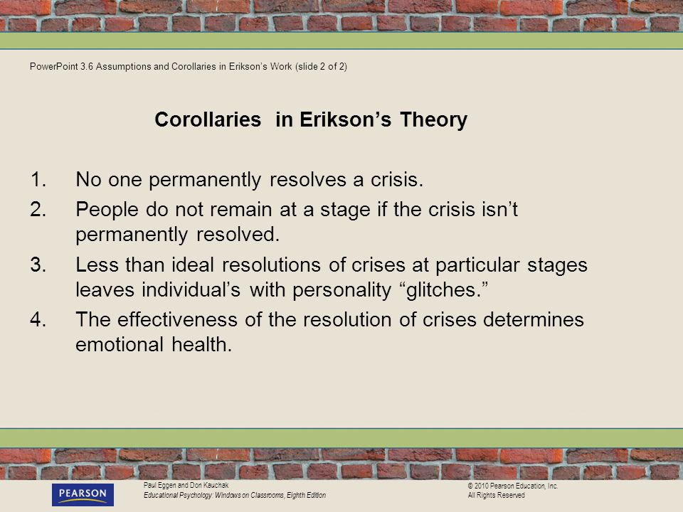 Corollaries in Erikson's Theory