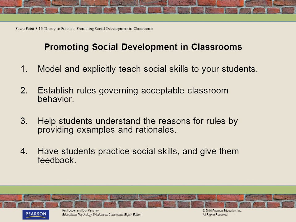 Promoting Social Development in Classrooms