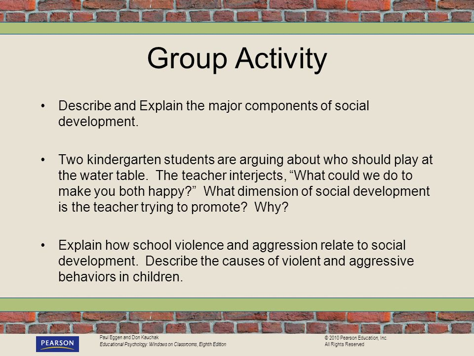 Group Activity Describe and Explain the major components of social development.
