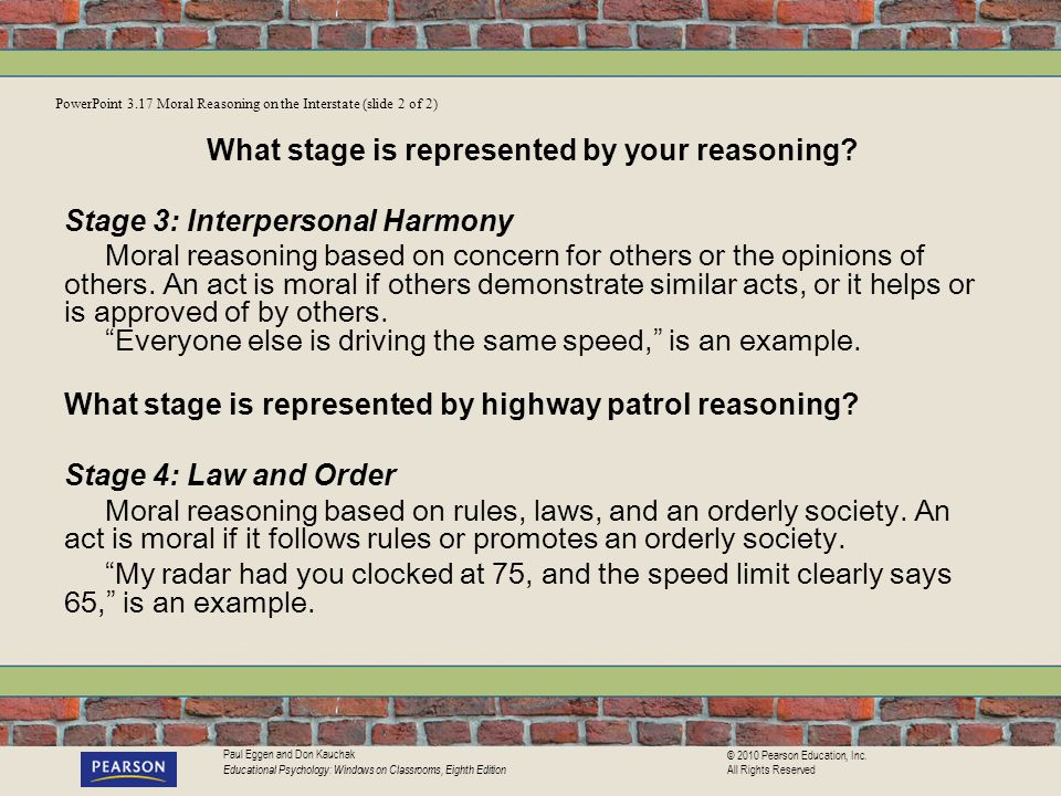 What stage is represented by your reasoning