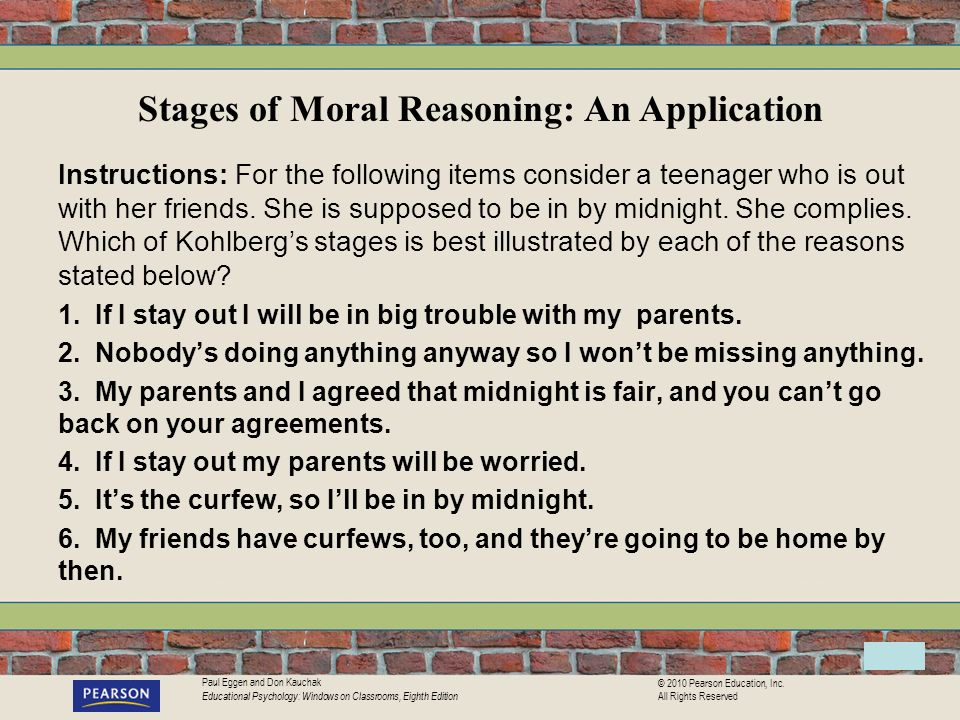 Stages of Moral Reasoning: An Application
