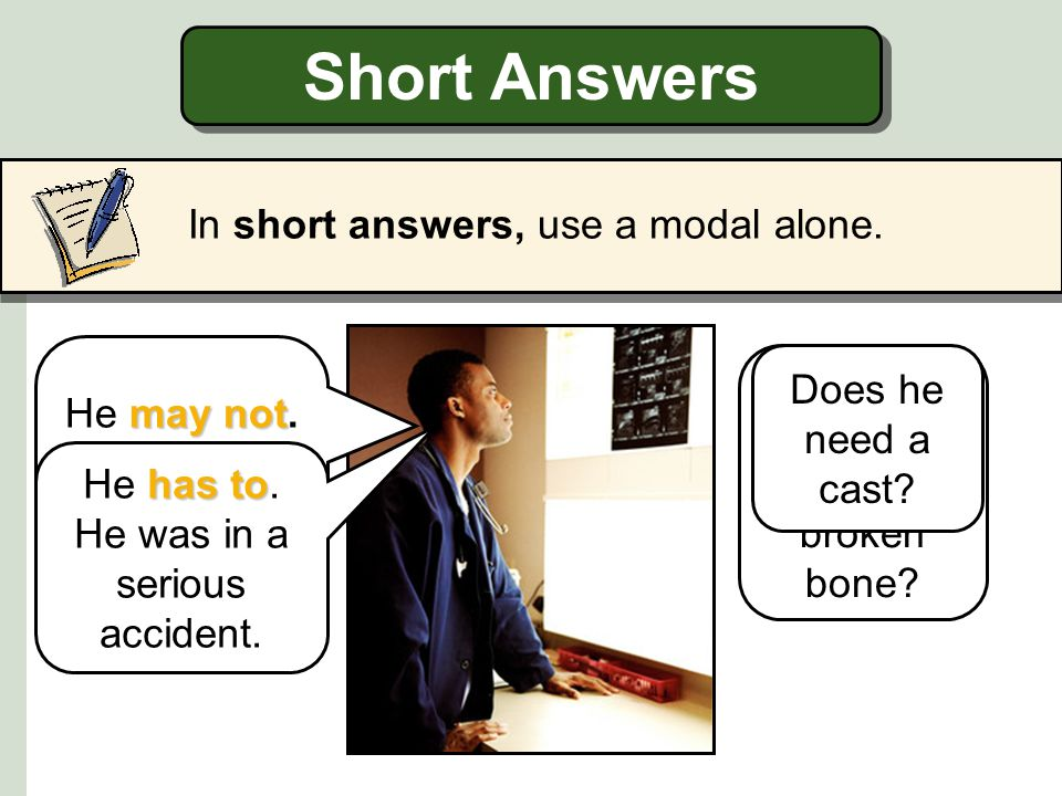 Short Answers In short answers, use a modal alone.