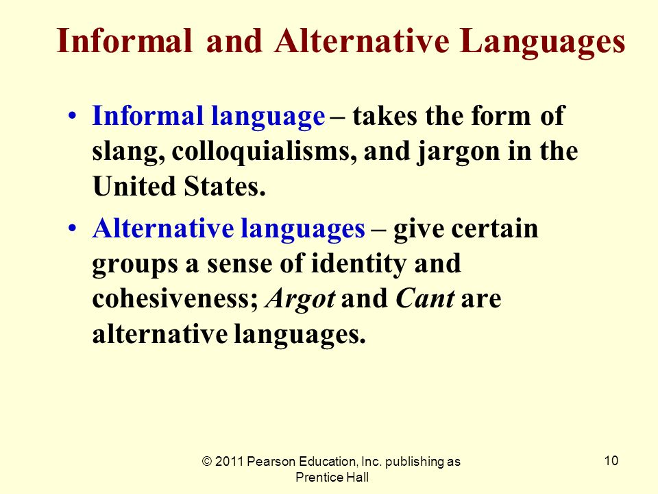 Informal and Alternative Languages