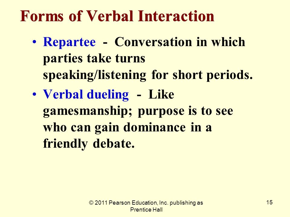 Forms of Verbal Interaction