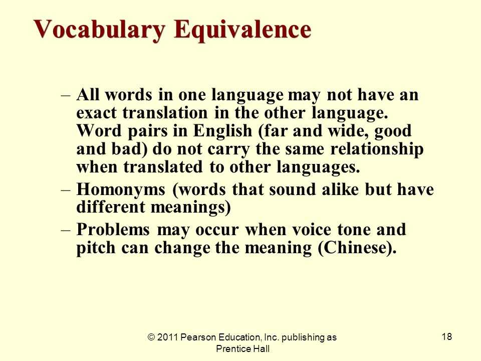 Vocabulary Equivalence