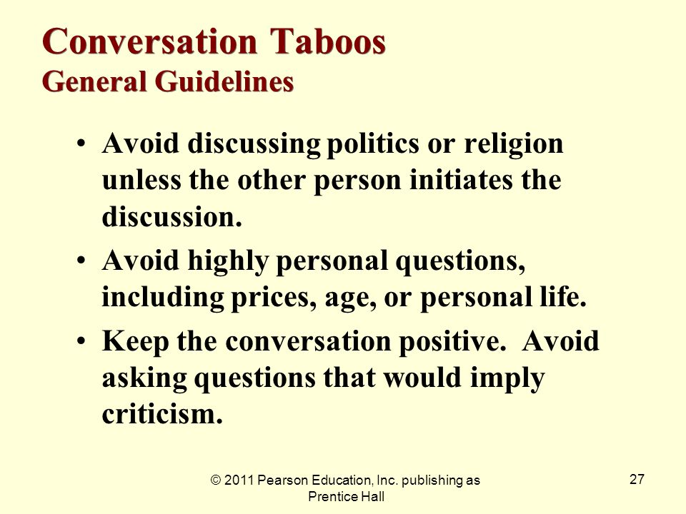 Conversation Taboos General Guidelines