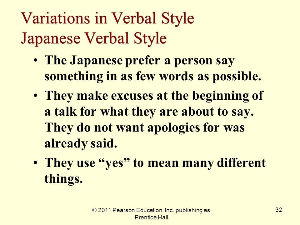 Variations in Verbal Style Japanese Verbal Style