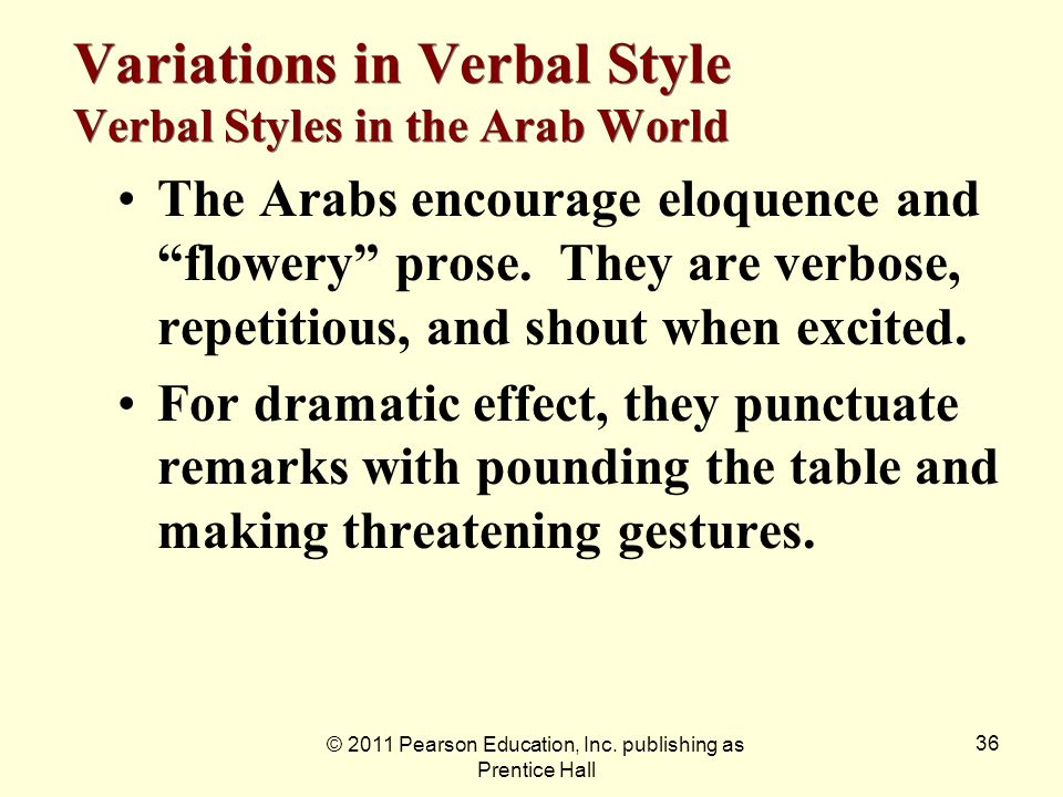 Variations in Verbal Style Verbal Styles in the Arab World