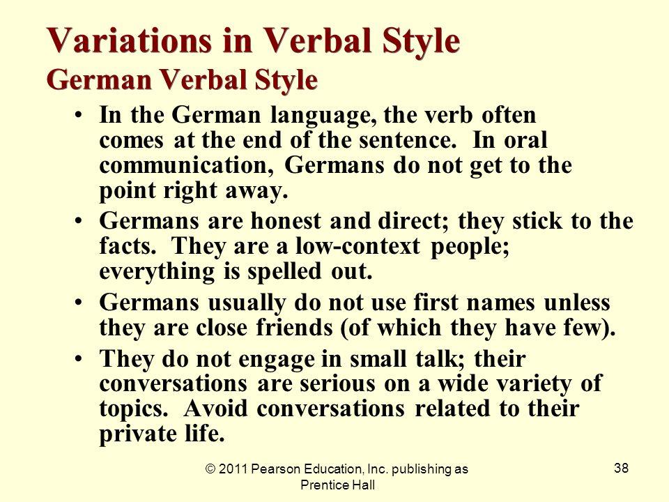 Variations in Verbal Style German Verbal Style