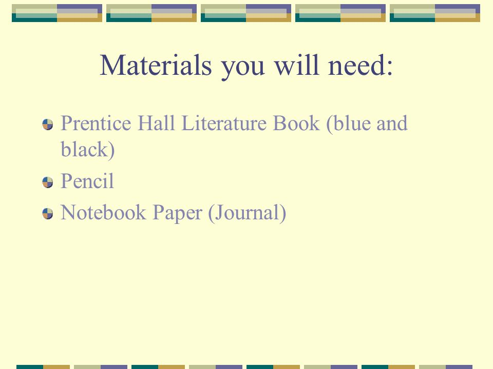 Materials you will need: