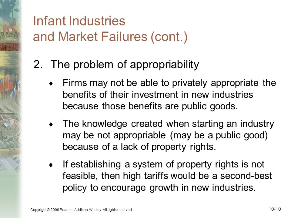 Infant Industries and Market Failures (cont.)