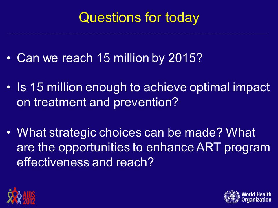 Questions for today Can we reach 15 million by 2015