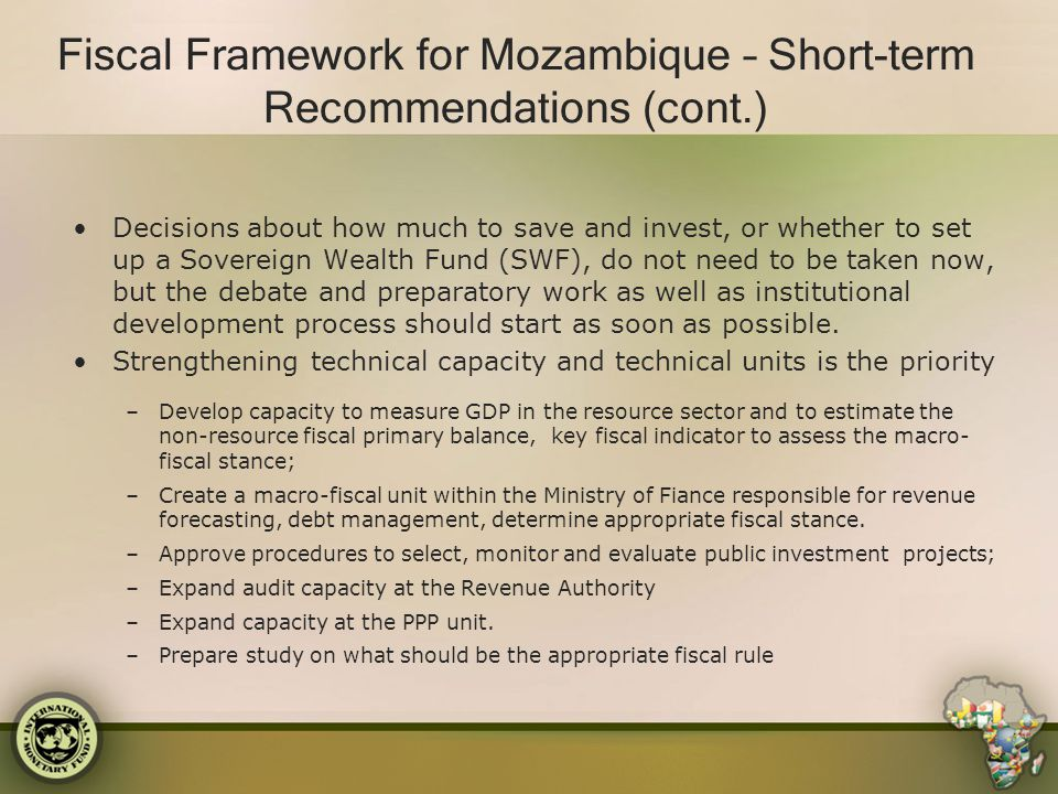 Fiscal Framework for Mozambique – Short-term Recommendations (cont.)