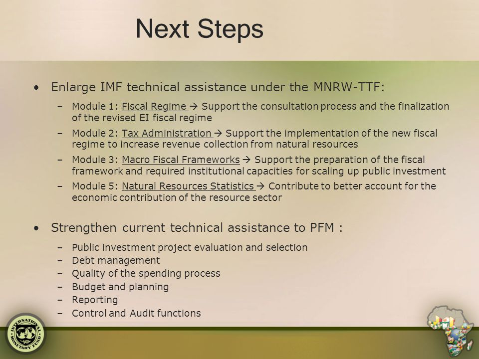 Next Steps Enlarge IMF technical assistance under the MNRW-TTF: