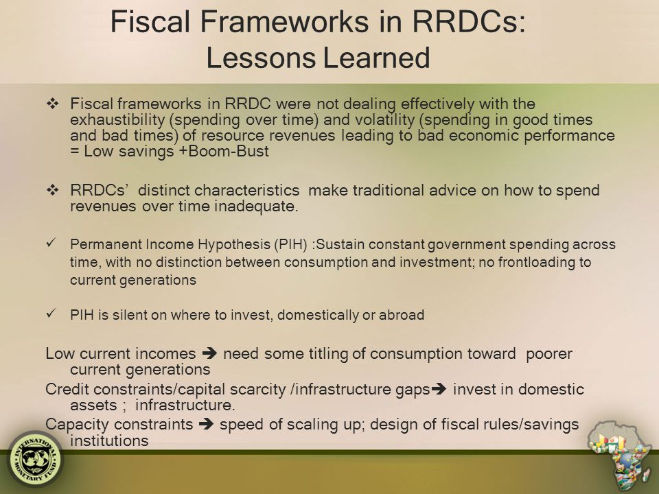 Fiscal Frameworks in RRDCs: Lessons Learned