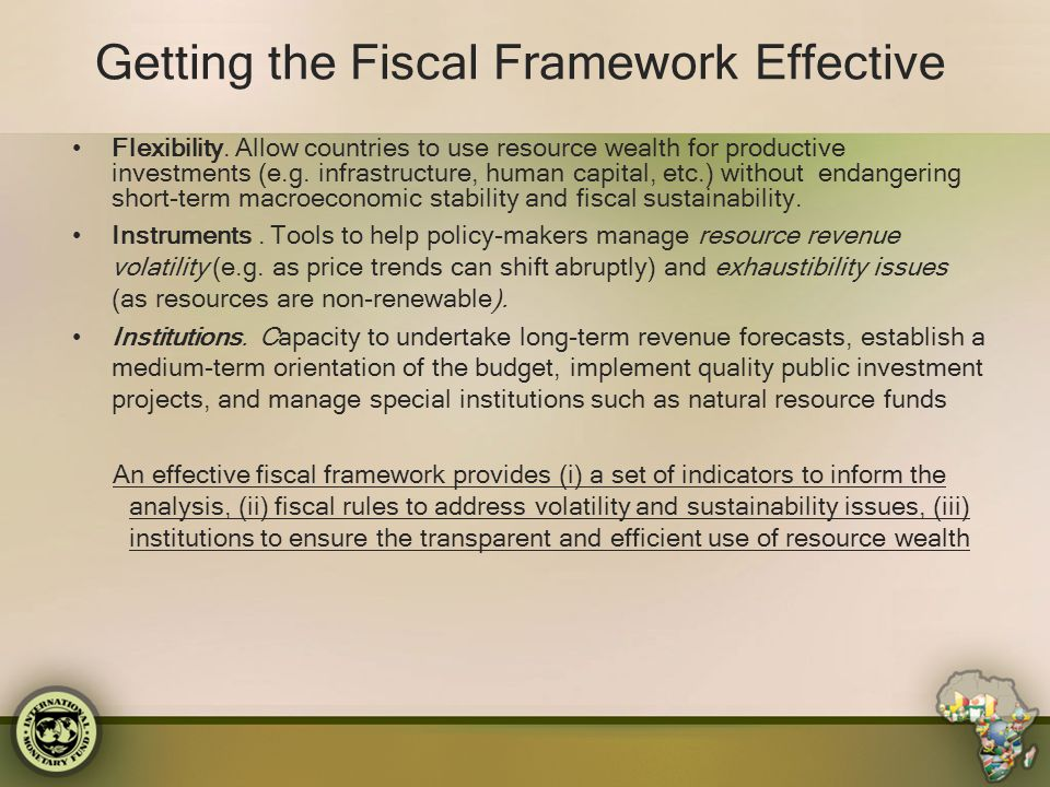 Getting the Fiscal Framework Effective