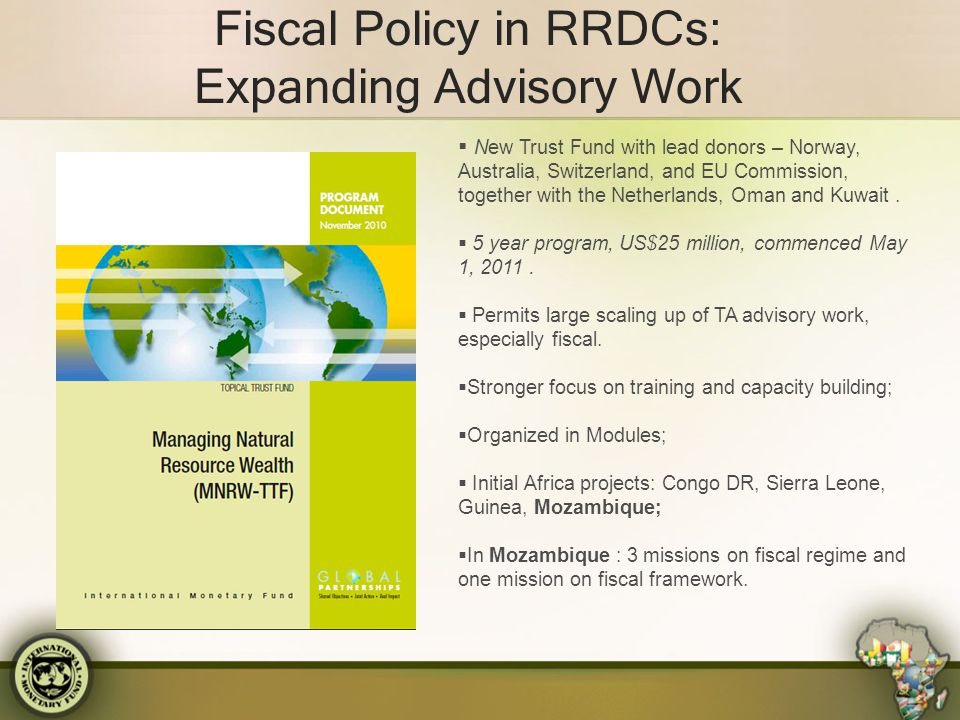 Fiscal Policy in RRDCs: Expanding Advisory Work