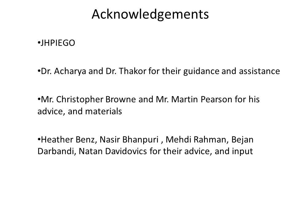 Acknowledgements JHPIEGO