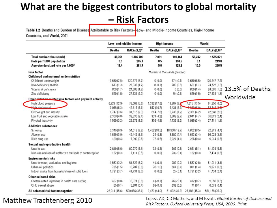 What are the biggest contributors to global mortality – Risk Factors