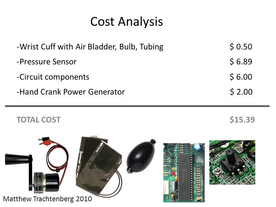 Cost Analysis Wrist Cuff with Air Bladder, Bulb, Tubing $ 0.50