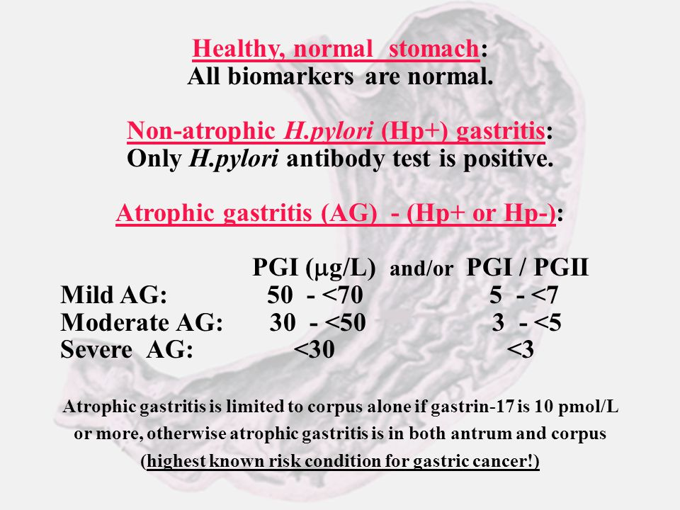 Healthy, normal stomach: All biomarkers are normal.