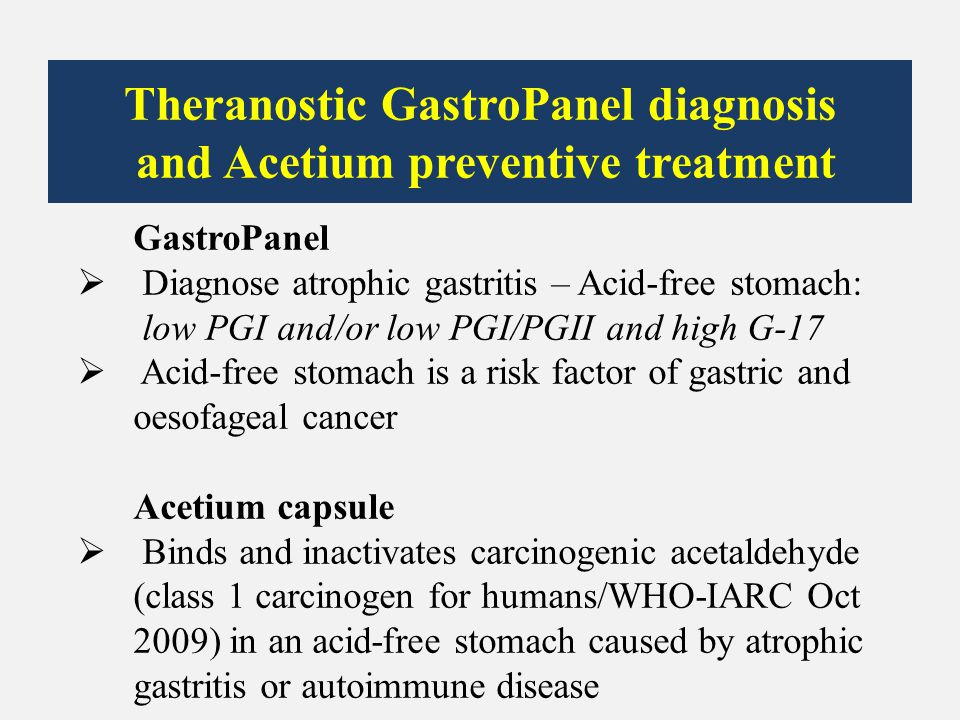Theranostic GastroPanel diagnosis and Acetium preventive treatment