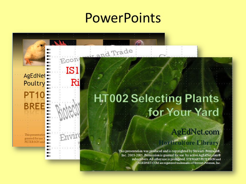 PowerPoints PowerPoints are part of the package, customized to match specific lessons.