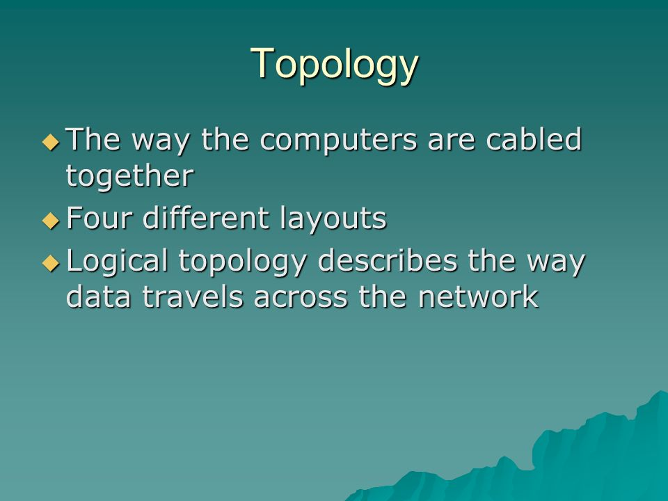 Topology The way the computers are cabled together
