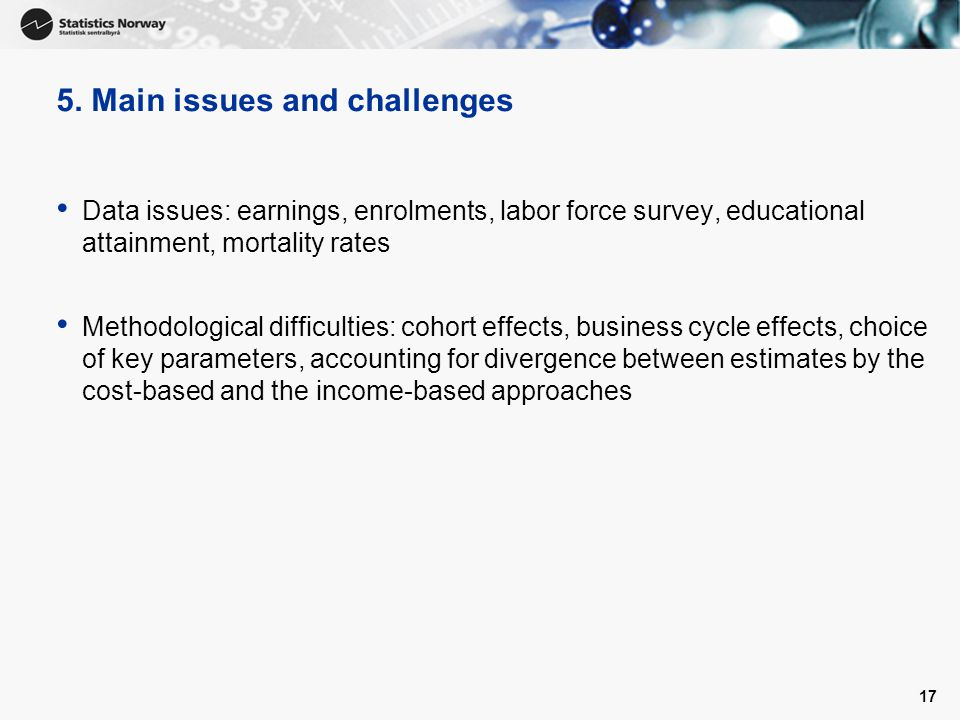 5. Main issues and challenges