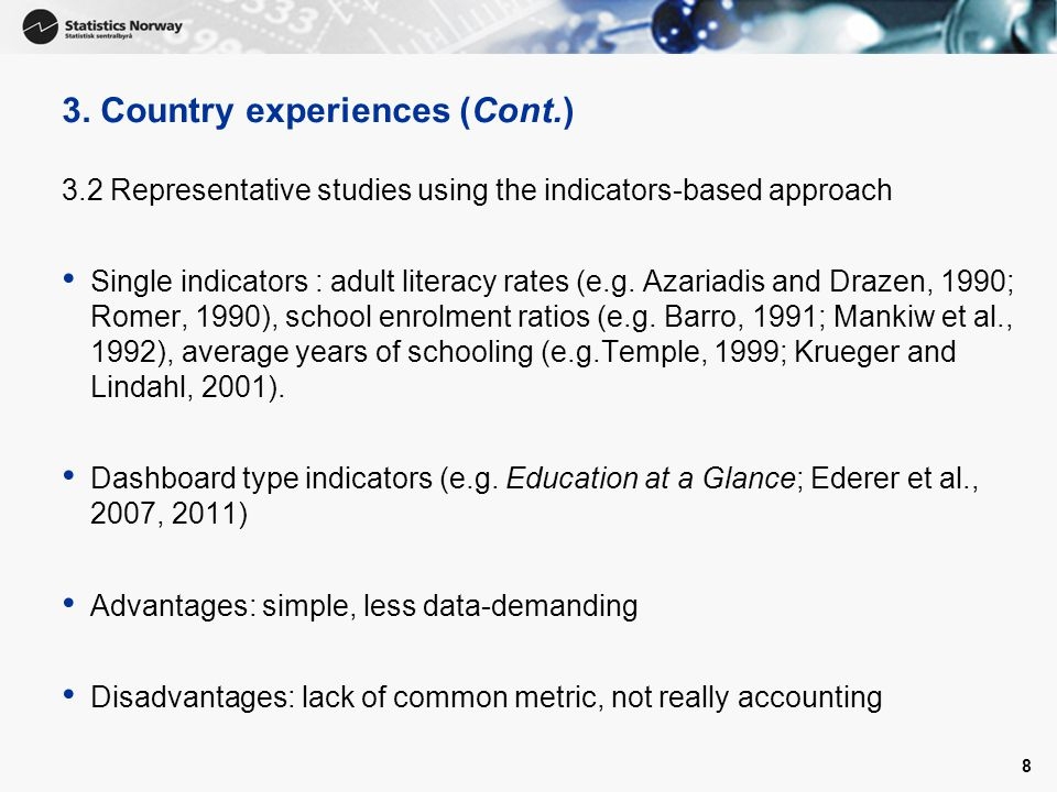 3. Country experiences (Cont.)