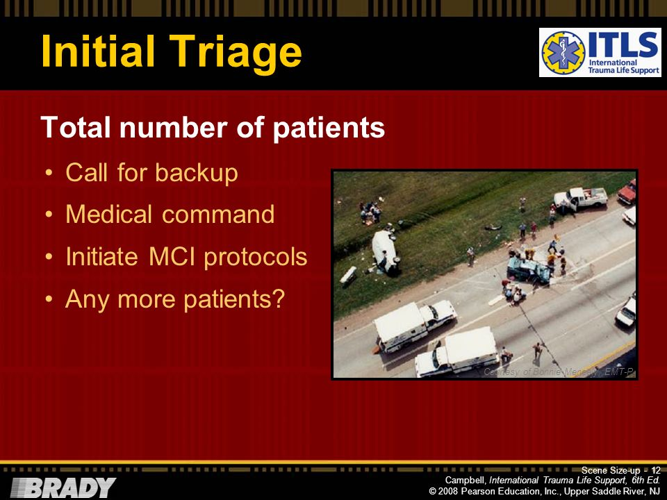 Initial Triage Total number of patients Call for backup