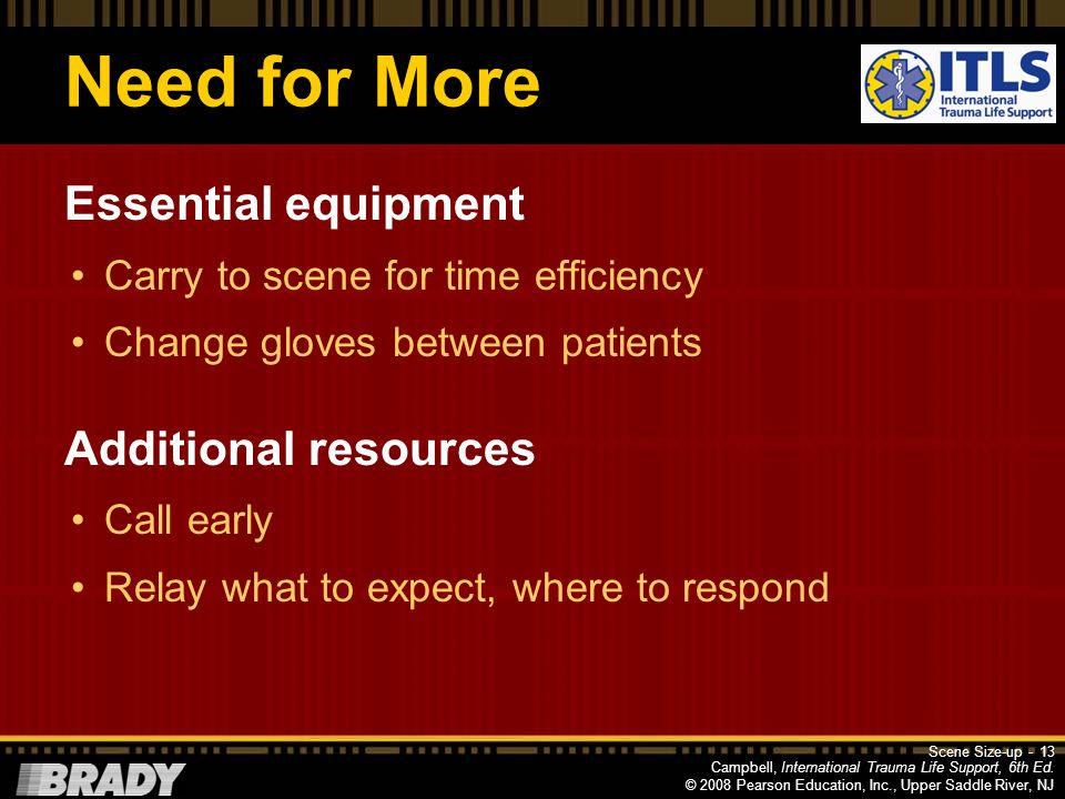 Need for More Essential equipment Additional resources