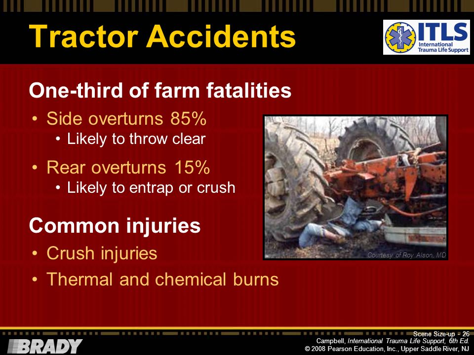 Tractor Accidents One-third of farm fatalities Common injuries