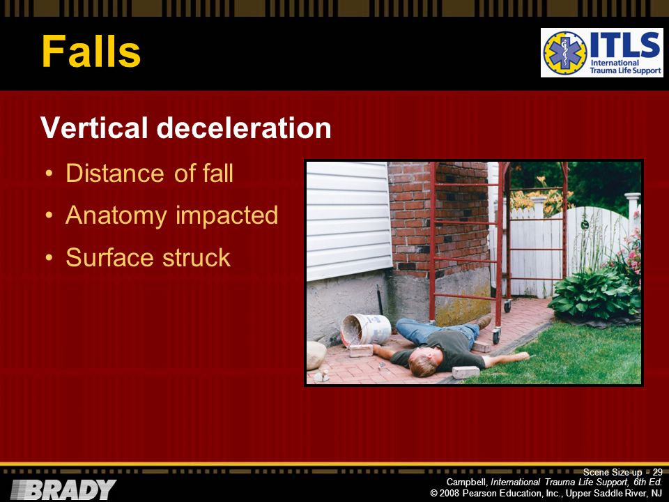Falls Vertical deceleration Distance of fall Anatomy impacted