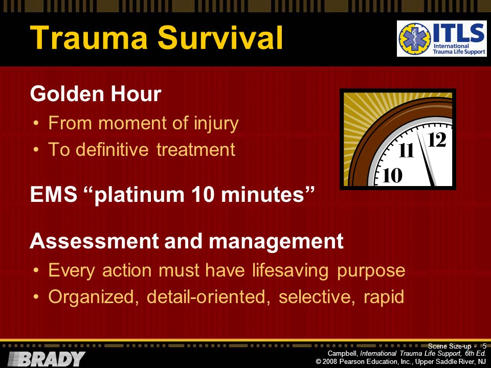 Trauma Survival Golden Hour EMS platinum 10 minutes