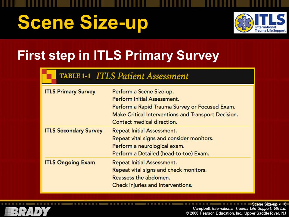 Scene Size-up First step in ITLS Primary Survey